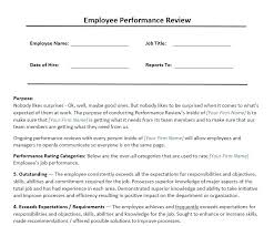 Work Performance Evaluation Template Staff Review Employee Appraisal