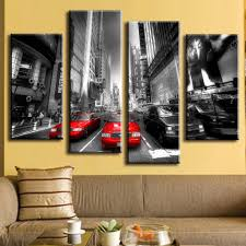 4 pcs set new arrival modern wall painting canvas wall art picture red taxis combined paintings unframed canvas painting in painting calligraphy from