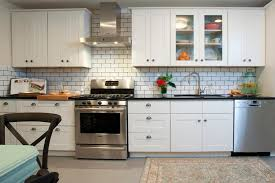 kitchen backsplash. Brilliant Backsplash White Wall Tile Kitchen Backsplash For Small Complete With Modern  Range Hood And Stove Plus Microwave Throughout