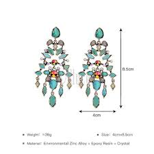 vintage geometric chandelier long big statement earrings blue