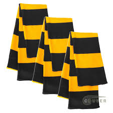 black gold yellow sportsman rugby striped knit scarf 3pieces bulk