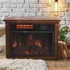 large room infrared quartz electric fireplace heater honey oak heaters finish remote wood burning fire box