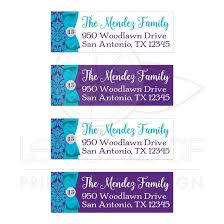 Printed Return Address Label Customizable Purple Aqua Blue White Damask Quinceanera Address Labels With Printed On Ribbon And Bow