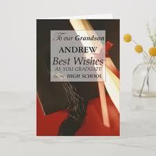 Grandson Custom Name High School Graduation Card