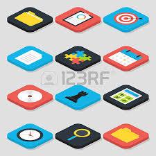office life flat business isometric icons set vector business concepts and office life icons business concepts business life office