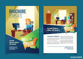 What Is A Pamphlet Sample Vector Brochure Template With Cartoon Illustration Of Office With