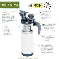 It makes 4 servings of coffee and has an airtight, leakproof lid, so you can take it along without worrying about spillage. My Mason Makes Cold Brew Coffee Kit Nourished Essentials