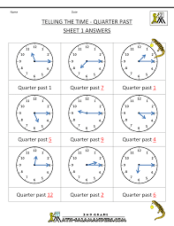 Clock Worksheets Quarter Past and Quarter toQuarter Past Sheet 1 ...
