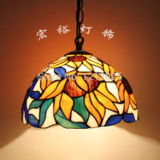 antique sunflower design pendant lamp dinning room stained glass lampshade vintage hanging lights fixture handcrafted