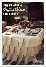 how to make a ruffled burlap tablecloth tutorial how to sew a ruffled burlap tablecloth