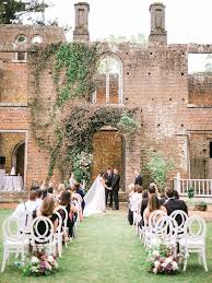 ceremony was in front of the manor house ruins at barnsley resort in adairsville georgia