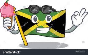 Flag Hoisting Pole Design Ice Cream Cartoon Jamaica Flag Hoisted Stock Vector Royalty