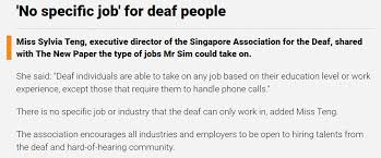 No Specific Job For Deaf People The Singapore Association