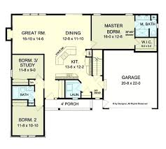 one level home plan with porches open concept ranch home plans pleasant design open ranch house