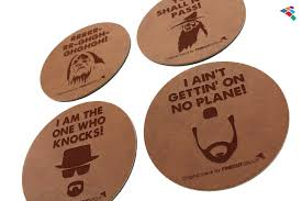 movember laser engraving leather coasters