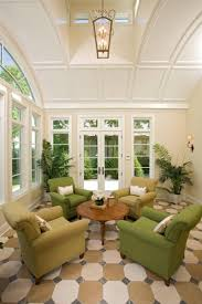 Home Interiors:Amazing White Green Sunroom Interior Design Ideas With  Simple Green Sofas And Indoor