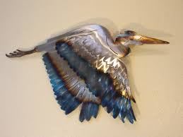 >great blue heron crane coast coastal steel decor marine ocean