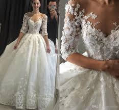 steven khalil ball gown wedding dresses with half sleeve 3d floral