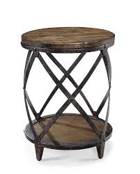 wood and metal end table com magnussen t1755 pinebrook distressed natural pine wood round accent table kitchen dining