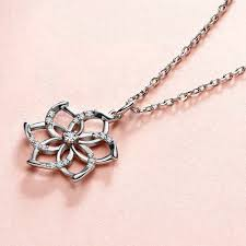 charming 925 silver flower pendant necklace for women crystal pendant chain wedding necklace gift