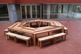 old pallet furniture. Creative Idea:Hexagonal Brown Pallet Wood Table And Small Bench Seats DIY Old Furniture