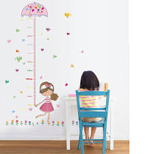 wallpark colourful flowers birds girl holding umbrella height sticker growth height chart measuring removable wall decal children kids baby home room