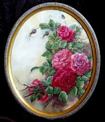 oval scarlet and pink roses