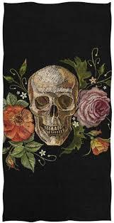 <b>Floral Skull</b> Bath Towel Bathroom <b>Vintage</b> Gothic Microfiber Beach ...