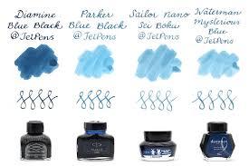 Blue Black Fountain Pen Ink Comparison Jetpens Com