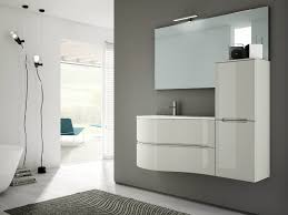 modern curved white wall mounted vanity for bathroom furniture idea