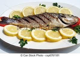 cooked fish. Fine Cooked Grill Cooked Fish With Lemon Slices And Parsley  Csp6761181 In Cooked Fish F