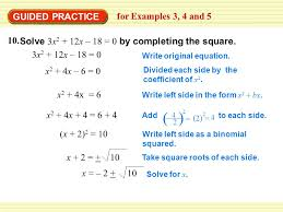 guided practice for examples 3 4 and 5 solve 3x 2 12x 18