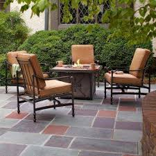 fire pit furniture. Fine Pit Niles Park 5Piece Gas Fire Pit Patio Seating Set With Cashew Cushions Throughout Furniture E
