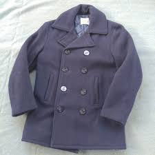 vintage fidelity usn navy blue heavy wool peacoat jacket size medium m usa made