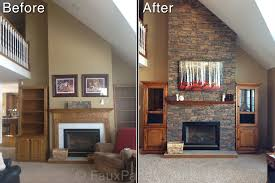 before and after photo boring drywall behind and around a fireplace resurfaced with the look