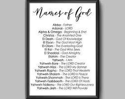 names of god christian printable wall decor digital download on 72 names of god wall art with names of god etsy