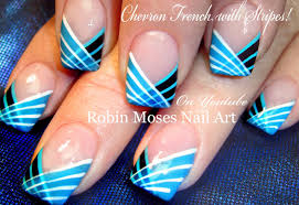 Robin Moses Nail Art: Striped Chevron Tipped Nail Art