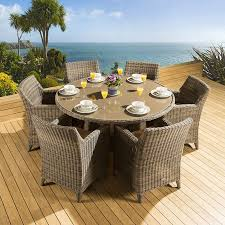 rattan garden outdoor dining set round table 6 large chairs mocha