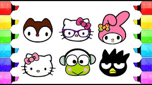 Hello Kitty Drawing And Coloring For Kids L Coloring Book Channel