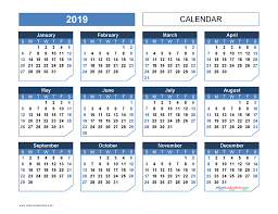 2019 Yearly Calendar Printable Template Office Style Us