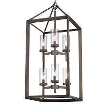 golden lighting 2073 6p gmt clr smyth 6 light foyer pendant in metal bronze with clear glass