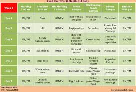 Food Chart For Pregnancy Week By Week Which Food Can Be Given For 8 Months Baby A Sample Food