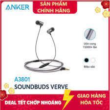 Tai nghe có dây ANKER SOUNDCORE SoundBuds Verve có mic - Tai nghe Anker  A3801 - Hàng chính hãng bảo hành 18 tháng tốt giá rẻ