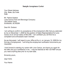 Employment Acceptance Letter Acceptance Letters Or Emails Generally Follow A Phone