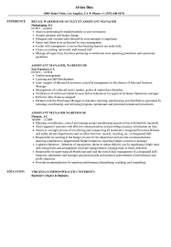 Resume Sample For Assistant Manager Warehouse Assistant Manager Resume Samples Velvet Jobs 16