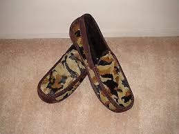 Mens Ugg Australia Ascot Calf Hair Camo Slippers 1003568 Brown Multi Color Sz 18 Ebay