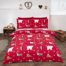 winter animals red flannelette duvet cover set super kingsize