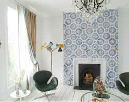 moroccan tile fireplace surround should only go a bit of the way up and around