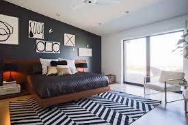 carpets bedrooms ravishing home. Ravishing Bedroom Design Ideas With Cool Art Wall Decor And Brown Varnished Oak Wood Floating Platform Beds On Black White Chevron Carpet Floors Plus Carpets Bedrooms Home M