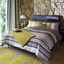 grey striped bedding by scion yellow